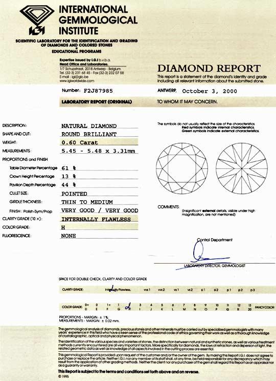 Foto 9 - Diamant 0,60ct Brillant IGI Lupenrein Wesselton Weiss H, D5144