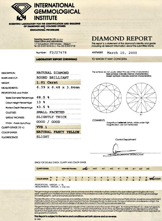 Foto 9, Zitronen Brilliant Fancy Yellow 1,01 ct IGI VVS1 Juwel!, D5149