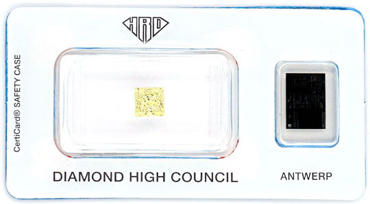 Foto 1, Natural Fancy Yellow Colour Princess Diamant 1,03ct HRD, D5152