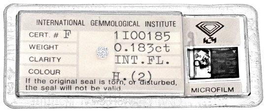 Foto 1 - Diamant 0,183ct Brilliant IGI Lupenrein Wesselton Weiss, D5155