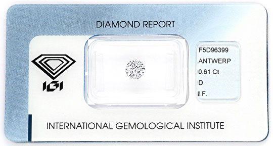 Foto 1 - Der Beste Diamant 0,61ct Brillant IGI Lupenrein River D, D5157