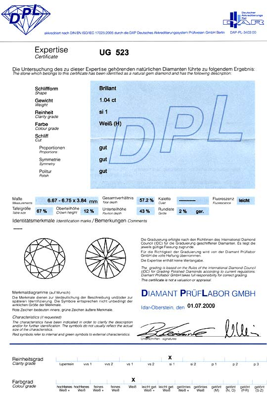 Foto 9, 1,046 Carat Diamant Wesselton / Weiss SI1 DPL-Expertise, D5158