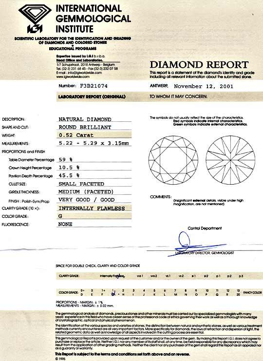 Foto 9 - Diamant 0,52 Carat Brillant IGI Lupenrein Top Wesselton, D5159