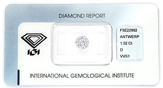 Foto 1 - River D VVS1 Einkaräter Diamant 1,02 Carat Brillant IGI, D5161