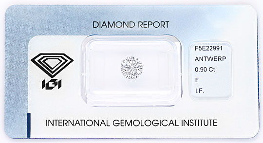 Foto 1, Diamant 0,90ct Brilliant IGI Lupenrein, Top Wesselton F, D5162