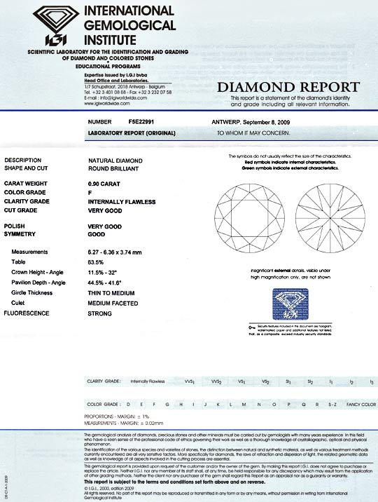 Foto 9, Diamant 0,90ct Brilliant IGI Lupenrein, Top Wesselton F, D5162