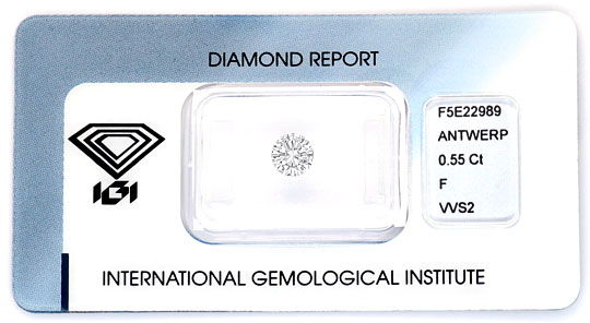 Foto 1, Diamant 0,55 ct Brilliant IGI Top Wesselton Plus F VVS2, D5165