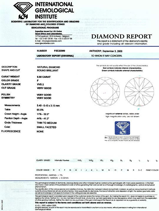 Foto 9, Diamant 0,55 ct Brilliant IGI Top Wesselton Plus F VVS2, D5165