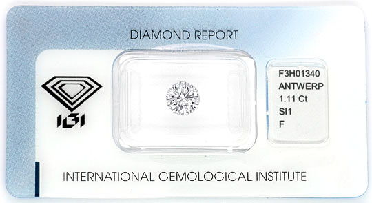 Foto 1, Diamant 1,11ct Brillant IGI Top Wesselton Plus SI1 VGVG, D5169