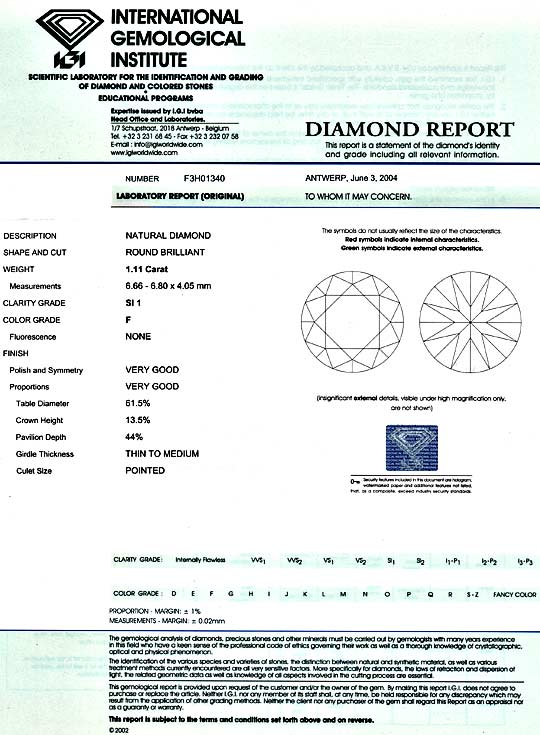 Foto 9, Diamant 1,11ct Brillant IGI Top Wesselton Plus SI1 VGVG, D5169