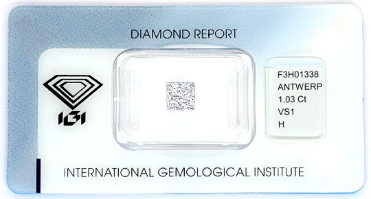 Original-Foto 1, PRINCESS-DIAMANT 1,03 ct IGI WESSELTON VS1 TOP-BRILLANZ, D5171