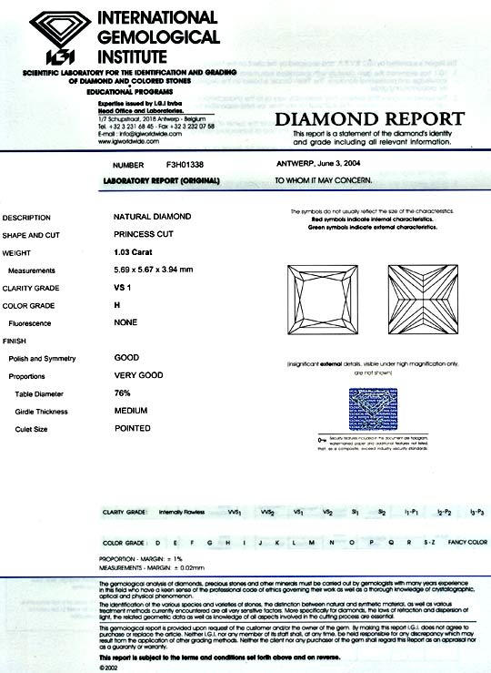Foto 9 - Princess Diamant 1,03 ct IGI Wesselton VS1 Top Brillanz, D5171