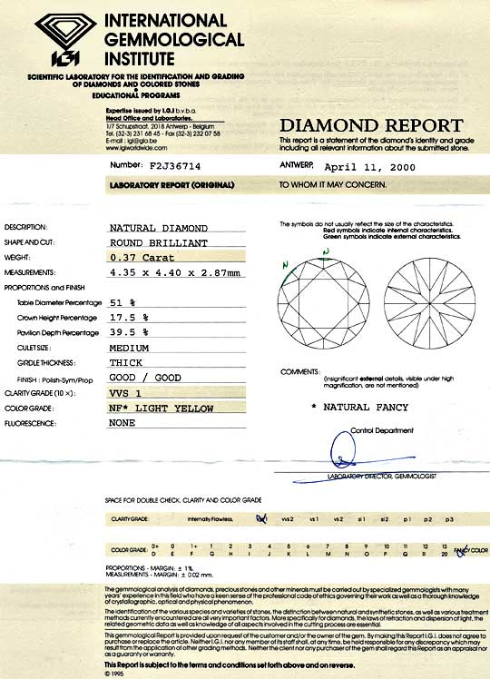 Foto 9, Natural Fancy Light Yellow Diamant 0,37ct Brilliant IGI, D5183