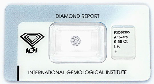 Foto 1, Diamant 0,50 ct Brilliant IGI Lupenrein F Top Wesselton, D5186