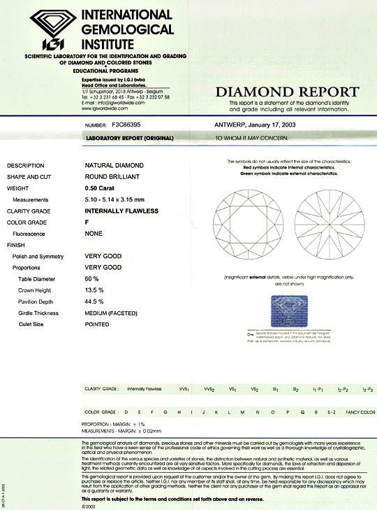 Foto 9, Diamant 0,50 ct Brilliant IGI Lupenrein F Top Wesselton, D5186