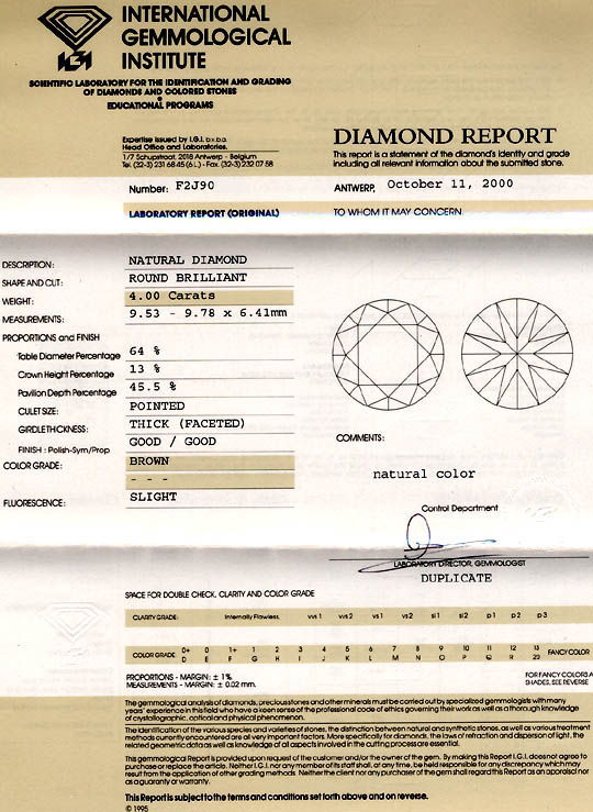 Foto 9, Diamant IGI 4.0ct Tolle Farbe Perfekte Brillanz Diamond, D5286