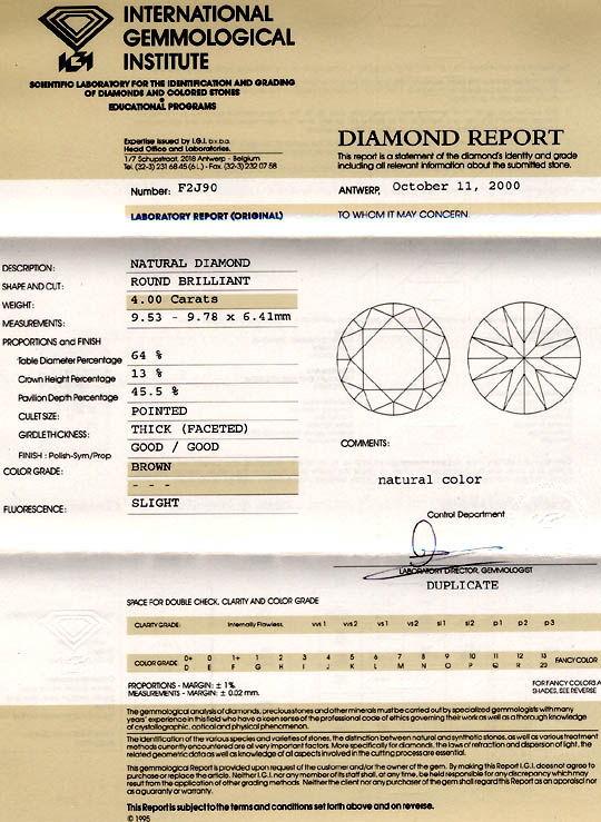 Foto 9, Diamant IGI 4.0ct Tolle Farbe Perfekte Brillanz Diamond, D5286