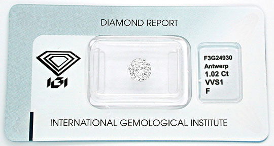 Foto 1, Diamant, IGI! 1,02ct fast Lupenrein Top-Wess.-F Diamond, D5443
