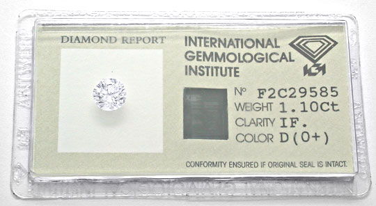 Foto 1, Best Diamant IGI 1,10ct River D Lupenrein VG/VG Diamond, D5489
