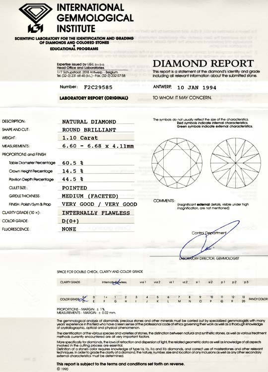 Foto 9, Best Diamant IGI 1,10ct River D Lupenrein VG/VG Diamond, D5489