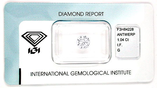 Foto 1, Brillant, IGI! 1,04ct Lupenrein Top Wesselton G Diamond, D5491