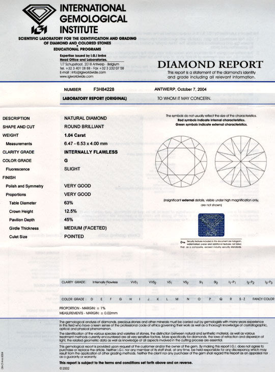 Foto 9, Brillant, IGI! 1,04ct Lupenrein Top-Wesselton-G Diamond, D5491