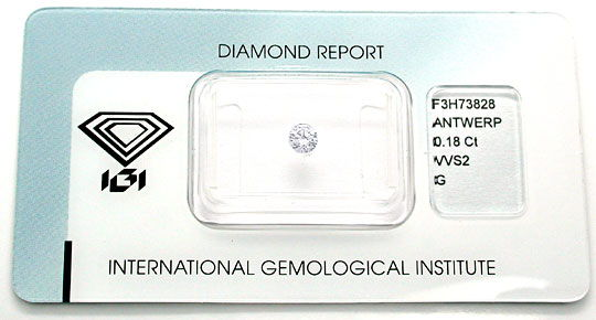 Foto 1, Diamant, IGI! Brillant 0,18ct Top-Wesselton-G VVS2 Shop, D5494
