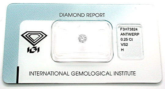 Foto 1, 1A Diamant, IGI!!, Brillant 0,25ct Wesselton H VS2 Shop, D5499