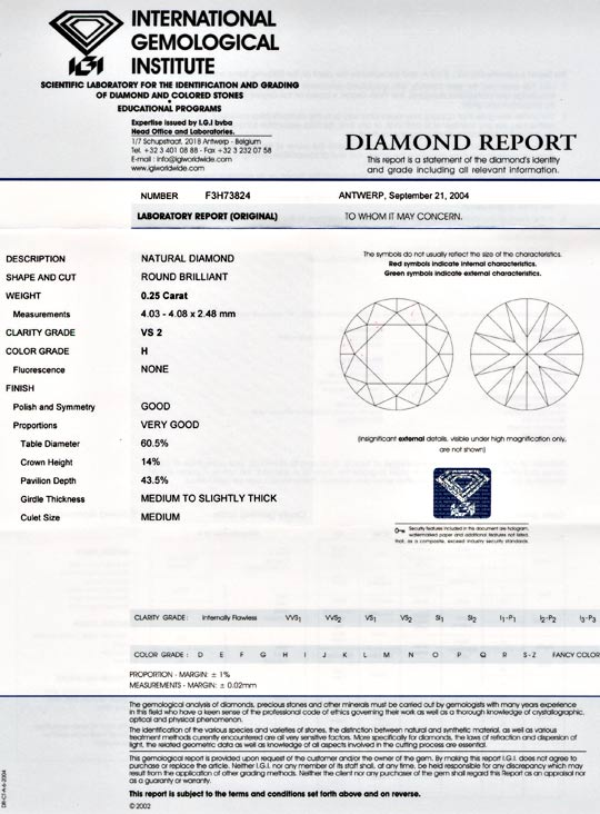 Foto 9, 1A Diamant, IGI!!, Brillant 0,25ct Wesselton H VS2 Shop, D5499