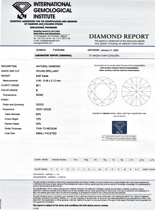Foto 9, Diamant, Top-Gutachten IGI!!! 0,572 Carat, River Juwel!, D5503