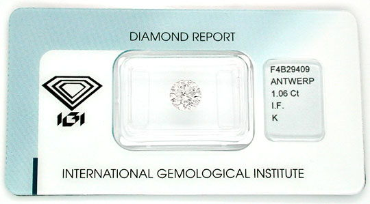 Foto 1, Diamant Top Brillant 1.06ct Lupenrein IGI VG/VG Diamond, D5515