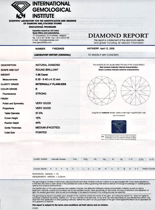 Foto 9, Diamant Top Brillant 1.06ct Lupenrein IGI VG/VG Diamond, D5515