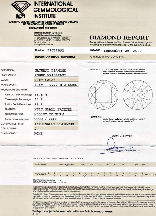 Foto 9, Top Brillant, IGI!, Einkaräter 1.07ct Lupenrein Diamond, D5535