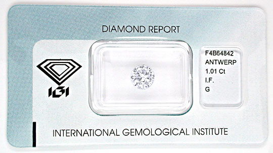 Foto 1, Diamant IGI!!! 1,01ct Lupenrein Top-Wesselton-G Diamond, D5536