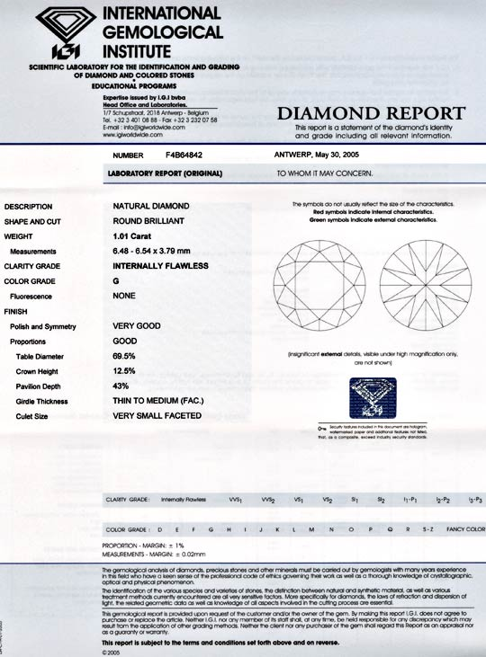 Foto 9, Diamant IGI!!! 1,01ct Lupenrein Top-Wesselton-G Diamond, D5536