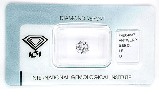 Foto 1, Diamant, IGI, Brillant 0,89ct Lupenrein River D Diamond, D5537