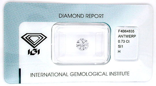 Foto 1, Diamant, IGI, Top Brillant 0,73ct Wesselton SI1, Juwel!, D5542