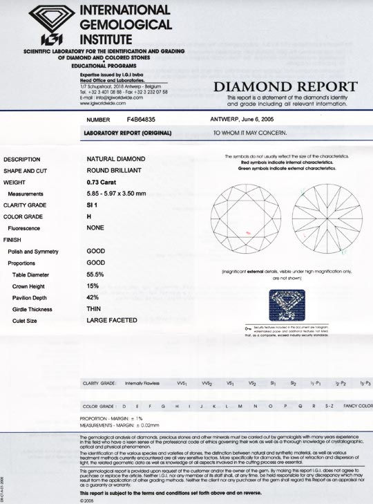 Foto 9, Diamant, IGI, Top Brillant 0,73ct Wesselton SI1, Juwel!, D5542