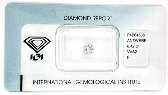Foto 1, Diamant IGI, Top Brillant 0,42ct Top Wesselton F Juwel!, D5545