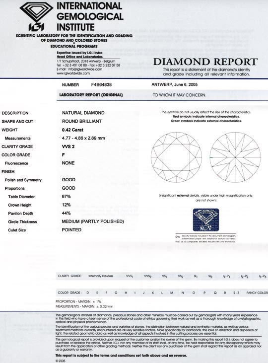 Foto 9, Diamant IGI, Top Brillant 0,42ct Top Wesselton F Juwel!, D5545