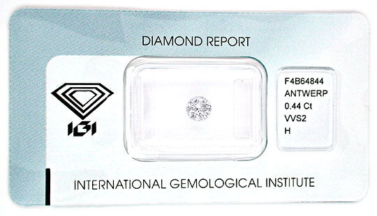 Foto 1, Diamant IGI, Top Brillant 0,44ct Weiss Wesselton Juwel!, D5546