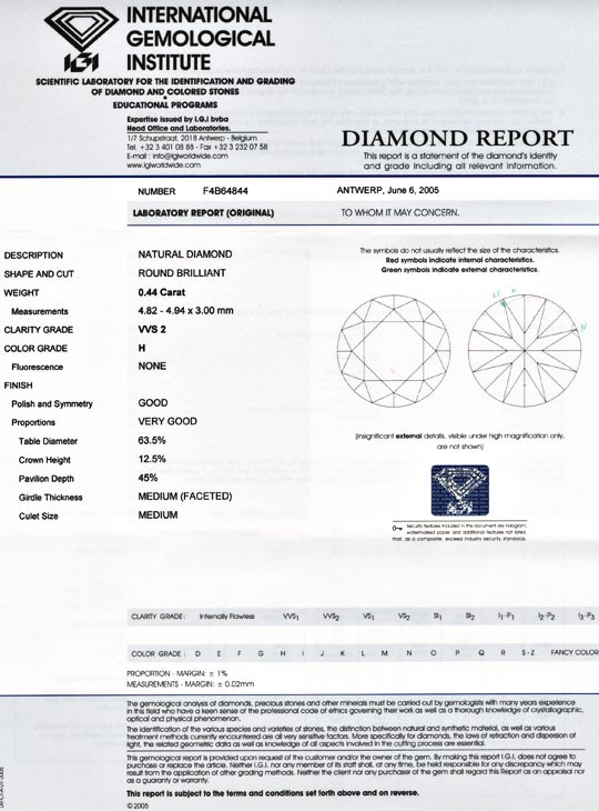 Foto 9, Diamant IGI, Top Brillant 0,44ct Weiss Wesselton Juwel!, D5546