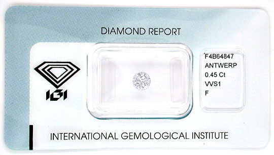 Foto 1, Diamant IGI, Top Brillant 0,45ct Top Wesselton F Juwel!, D5547