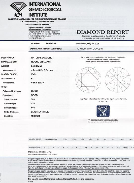 Foto 9, Diamant IGI, Top Brillant 0,45ct Top Wesselton F Juwel!, D5547