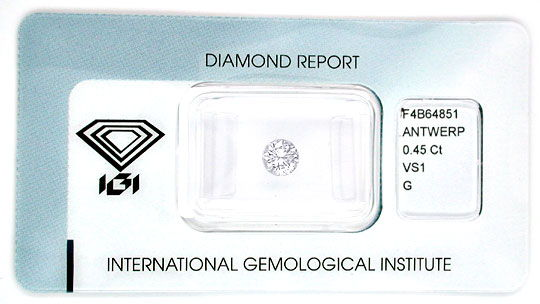 Foto 1, Diamant IGI, Brillant 0,45ct VS1 Top Wesselton G Juwel!, D5548