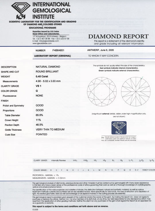 Foto 9, Diamant IGI, Brillant 0,45ct VS1 Top Wesselton G Juwel!, D5548