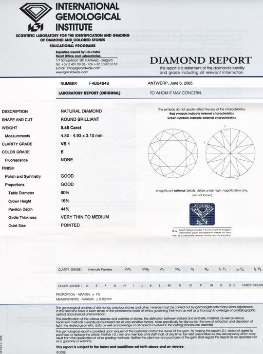 Foto 9, Diamant IGI, Spitzen Brillant 0,46ct VS1 River E Juwel!, D5549