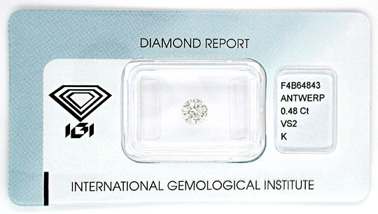 Foto 1, Diamant, IGI-Gutachten!, Top-Brillant 0,48ct VS2 Juwel!, D5550