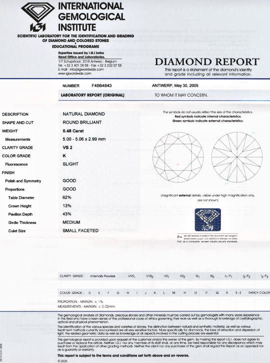 Foto 9, Diamant, IGI-Gutachten!, Top-Brillant 0,48ct VS2 Juwel!, D5550