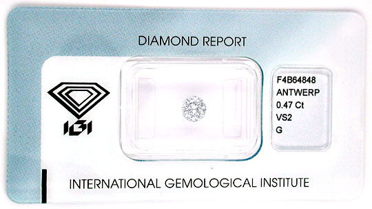 Foto 1, Diamant IGI, Brillant 0,47ct VS2 Top Wesselton G Juwel!, D5552